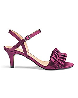 Ruffle Detail Kitten Heel Sandals Extra Wide EEE Fit