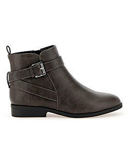 Strap and Buckle Ankle Boots Wide E Fit