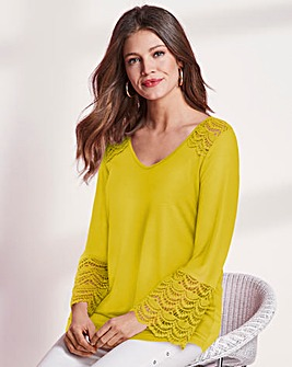 Together Lace Trim Jersey Top