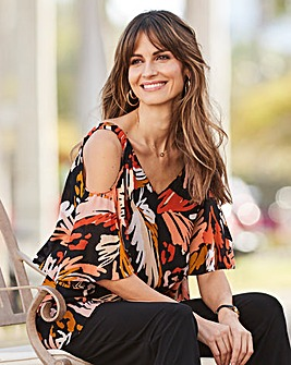 Together Print & Plain Cold Shoulder