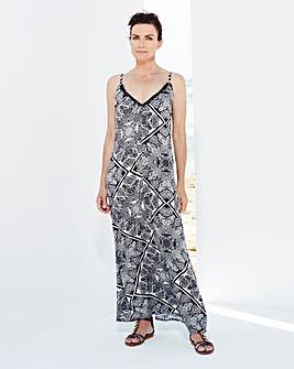 Black/Ivory Paisley Print Maxi Dress