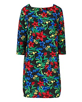 Black Floral Print Tunic Dress