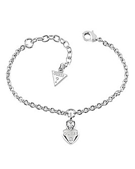 Guess Crystal Heart Rhodium Bracelet