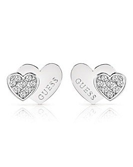 Guess Me and You Double Heart Studs