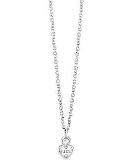 Guess Crystal Heart Rhodium Necklace