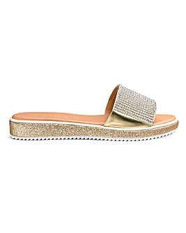 Heavenly Soles Diamante Trim Slider Mule Sandals Extra Wide EEE Fit