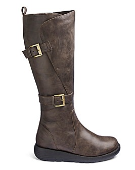 Double Buckle High Leg Boots Wide E Fit Curvy Calf