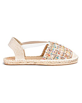 Elastic Side Strap Espadrilles Wide E Fit