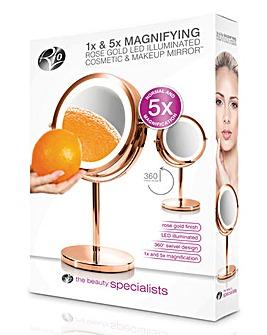 Rio Rose Gold LED Illuminated 1x & 5x Magnification Cosmetic Mirror