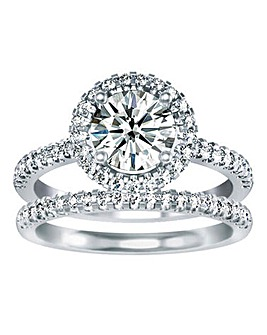 Buckley London Double Row CZ Ring