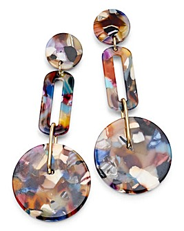 Marble Effect Resin Drop Earrings