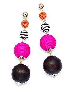 Wrapped Beaded Drop Earrings