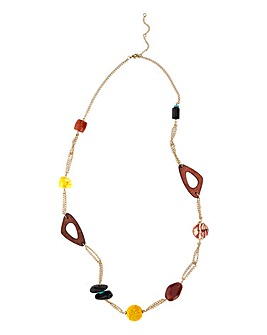 Mixed Media Long Station Necklace