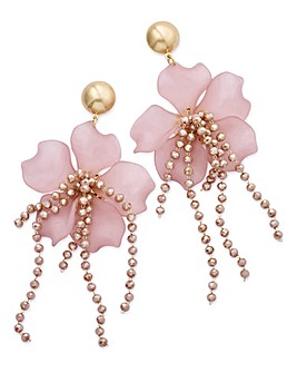 Ribbon And Asher Pink Flower Earrings