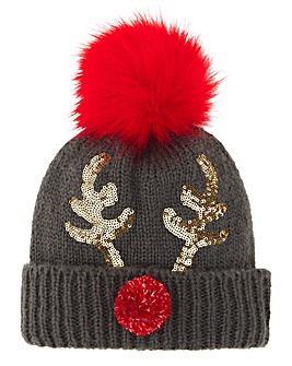 Reindeer Sequin Novelty Bobble Hat
