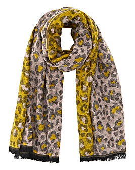 Brushed Woven Leopard Print Scarf