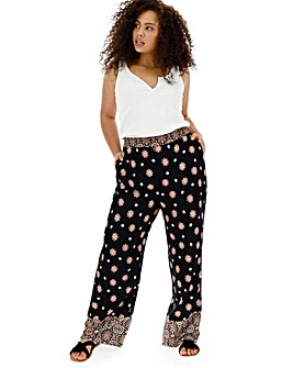 Border Print Side Panel Wide Trousers