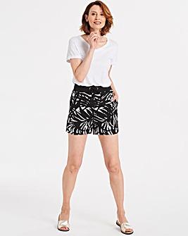 Black & White Slouch Linen Mix Shorts