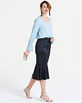Peplum Hem Midi Skirt