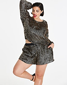 Luxe Summer Sequin Stripe Shorts