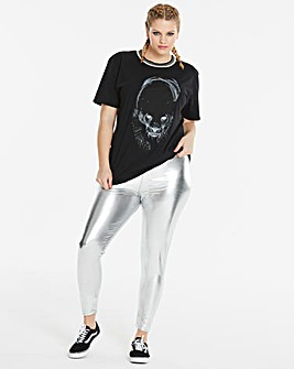 Simply Be Silver Metallic Leggings