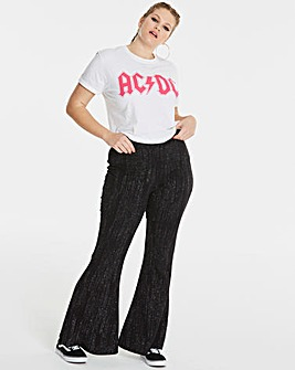 Simply Be Glitter Kick Flare Trousers
