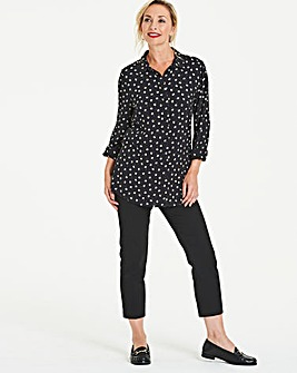 Black Floral Printed Viscose Shirt