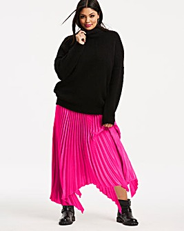 Bright Pink Hanky Hem Pleat Maxi Skirt