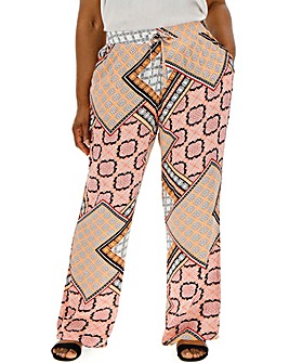 Tile Print Crinkle Wide Leg Trousers