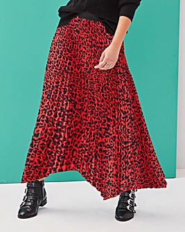 Red Leopard Hanky Hem Pleat Maxi Skirt