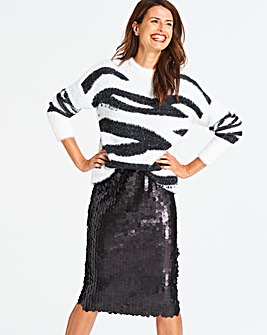 Black Disc Sequin Pencil Skirt