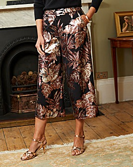 Foil Print Crepe Crop Wide Leg Trousers