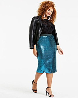 Teal Sequin Pencil Midi Skirt