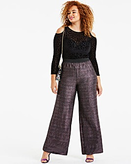 Stretch Jersey Glitter Wide Trousers