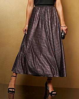 Stretch Jersey Glitter Maxi Skirt