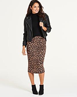 Animal Print Jersey Midi Tube Skirt