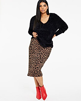 Animal Print Jersey Midi Tube Skirt