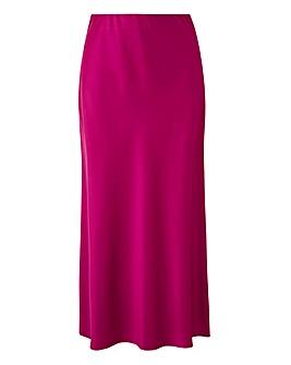 Satin Column Midi Skirt