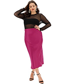 Satin Column Midi Skirt