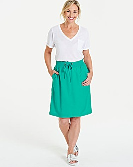 Jade Slouch Linen Mix Knee Length Skirt