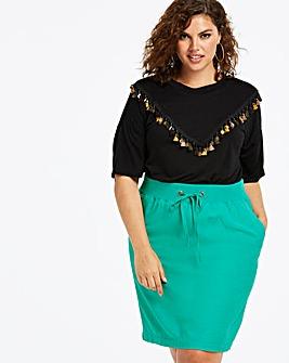 Jade Slouch Linen Mix Knee Length Skirt