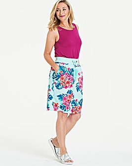 Print Slouch Linen Mix Knee Length Skirt