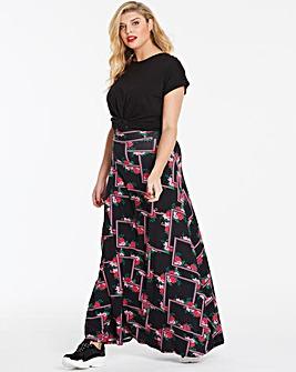 Print Stretch Jersey Maxi Skirt