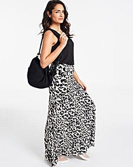 Leopard Print Stretch Jersey Maxi Skirt