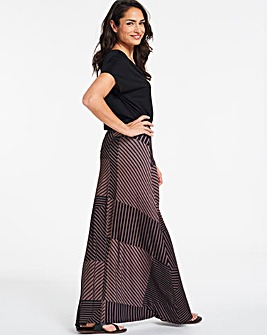 71e42d89106 Black   Sand Stretch Jersey Maxi Skirt