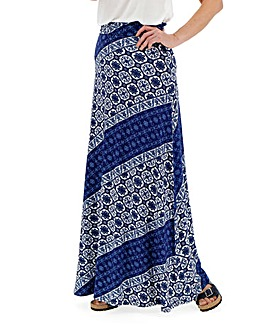 Blue Print Stretch Jersey Maxi Skirt