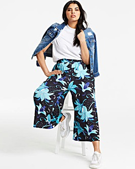 Floral Print Stretch Jersey Culottes