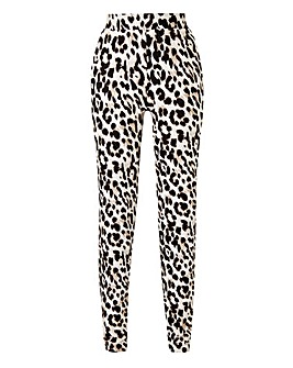 Leopard Print Jersey Tapered Trousers