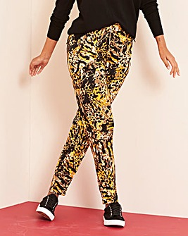 Animal Print Jersey Tapered Trousers