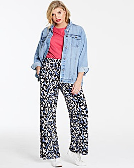 Print Wide Leg Jersey Trousers Long